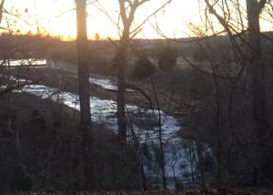 The waterfall that feeds the stream behind our home in Northwest Arkansas.